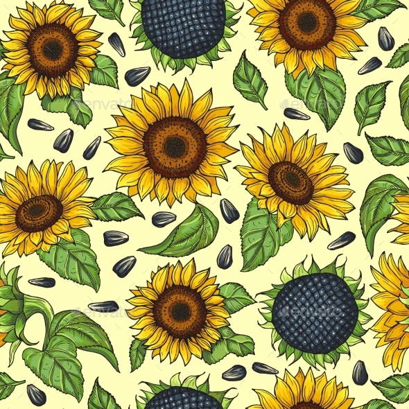 Seamless Pattern with Yellow Sunflowers - Backgrounds Decorative