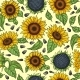 Seamless Pattern with Yellow Sunflowers
