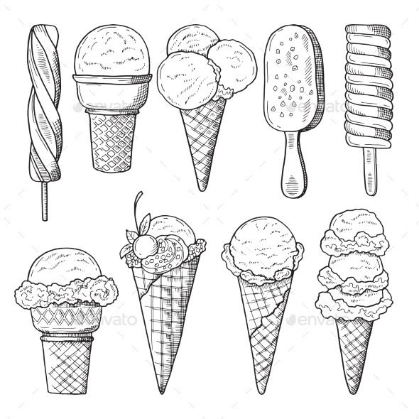 Hand Drawn Illustrations Set of Ice Creams - Food Objects