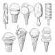 Hand Drawn Illustrations Set of Ice Creams