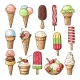 Colored Illustrations of Ice Creams with Chocolate