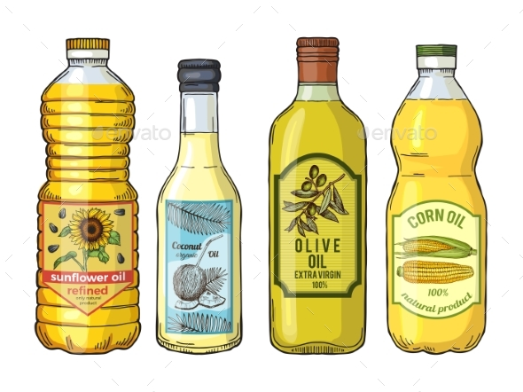 Labels for Different Oils - Food Objects