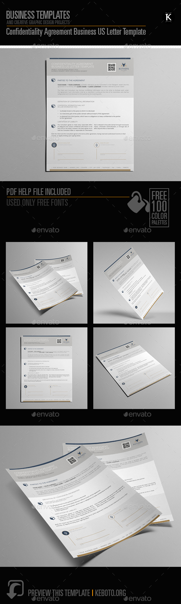 Confidentiality Agreement Business US Letter Template - Miscellaneous Print Templates