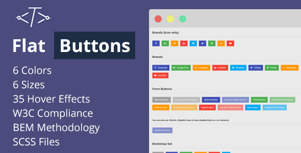 CodeCanyon Flat Buttons Modern & Multipurpose Options 20632562