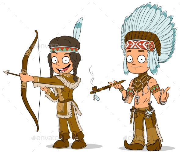 GraphicRiver Cartoon Indian Chief Young Warrior Characters Set 20632625