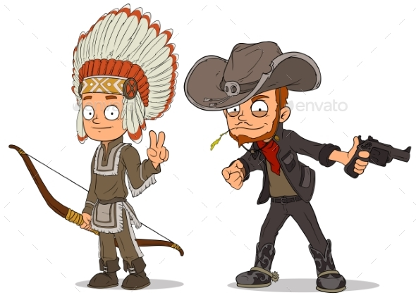 GraphicRiver Cartoon Indian Boy and Cowboy Characters Set 20632626