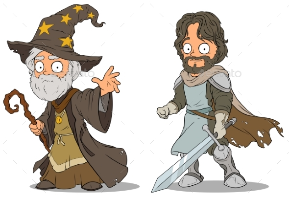 Cartoon Medieval Wizard and Knight Characters Set - Miscellaneous Characters
