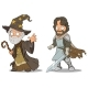 Cartoon Medieval Wizard and Knight Characters Set