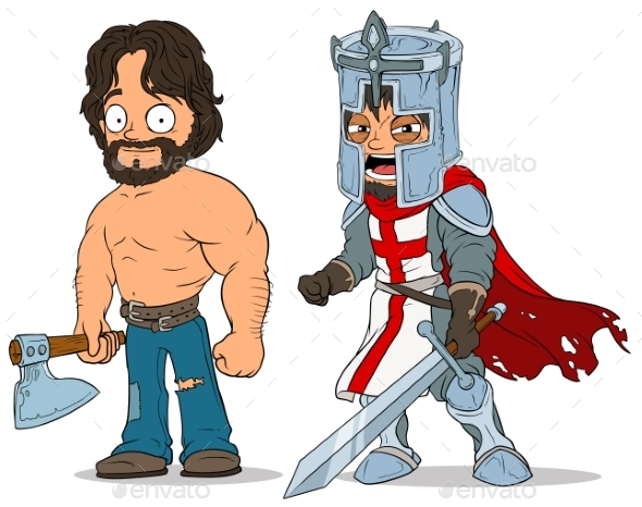 Cartoon Knight and Lumberjack Characters Set - People Characters