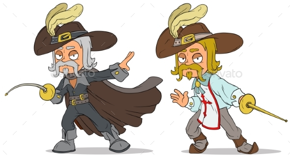 Cartoon Musketeer with Sword Characters Vector Set - People Characters