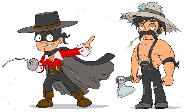 Cartoon Masked Hero and Farmer Characters Set - People Characters