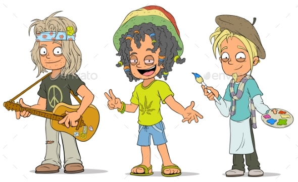 Cartoon Hippie Jamaican Artist Characters Set - People Characters
