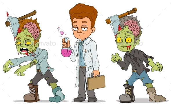 Cartoon Walking Zombie Scientist Characters Set - Miscellaneous Characters