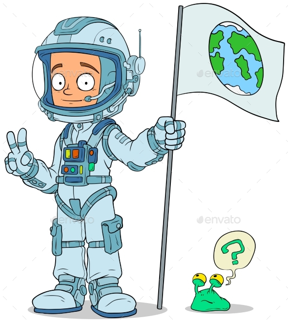 Cartoon Astronaut in Space Suit Characters Set - People Characters