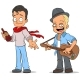 Cartoon Street Musician with Guitar Characters Set