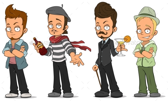Cartoon Handsome Guys with Alcohol Characters Set - People Characters