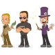 Cartoon Magician and Security Characters Set