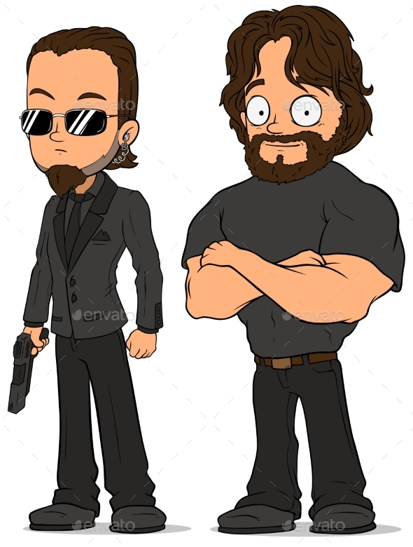GraphicRiver Cartoon Strong Secret Agent Characters Set 20632708