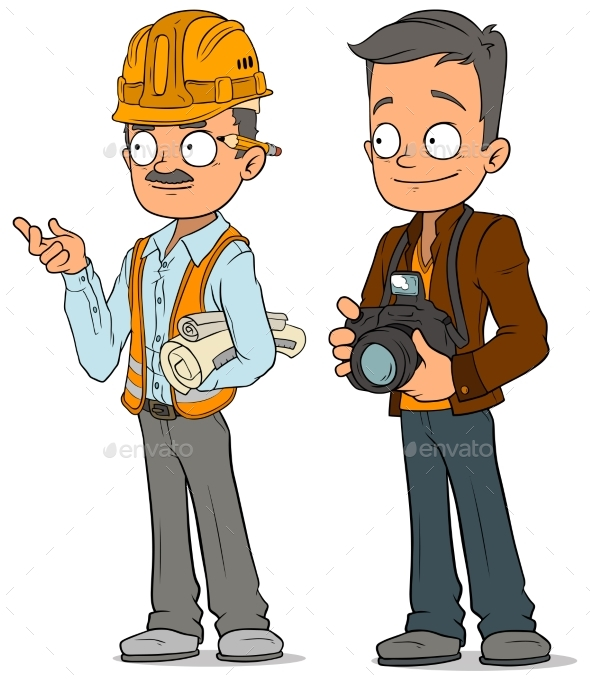 Cartoon Engineer and Photographer Characters Set - People Characters