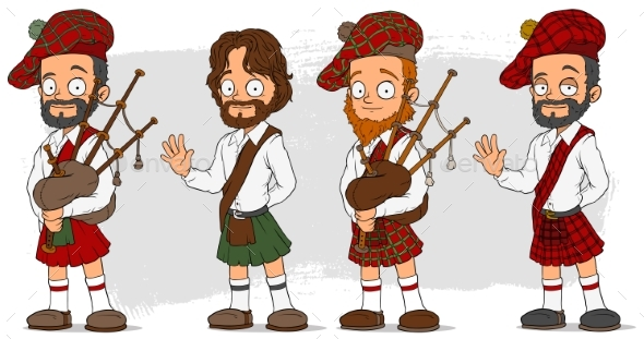 Cartoon Scottish with Bagpipe Characters Set - People Characters