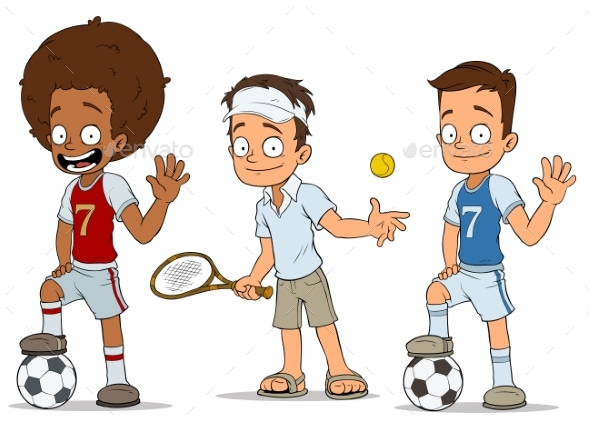 Cartoon Football Tennis Players Characters Set - People Characters