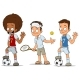Cartoon Football Tennis Players Characters Set