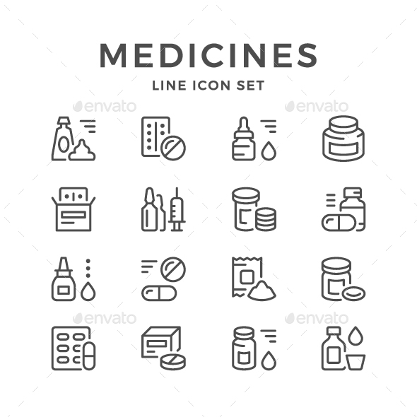 GraphicRiver Set Line Icons of Medicines 20632781