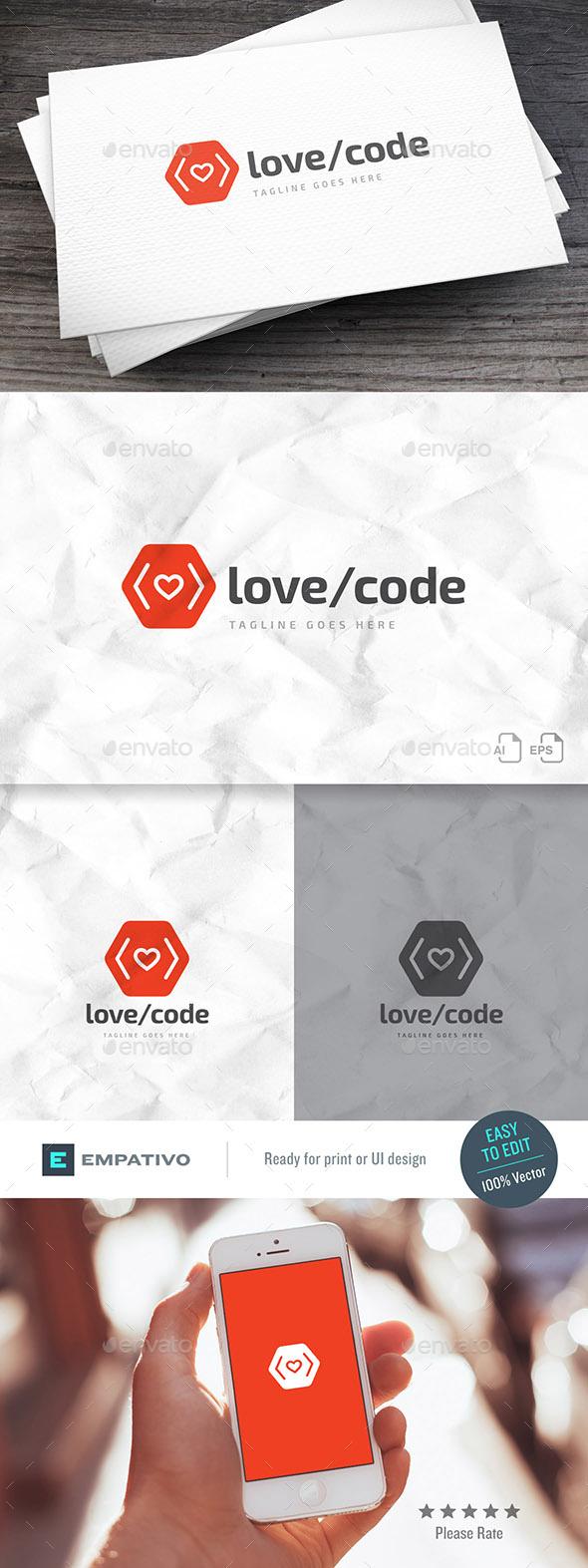 Love Code Logo Template - Symbols Logo Templates
