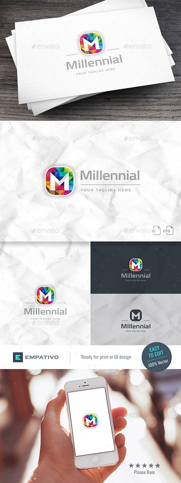 Millennial Brand Letter M Logo Template - Letters Logo Templates