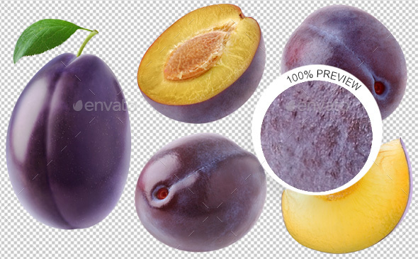 Collection of Isolated Plums - Food & Drink Isolated Objects