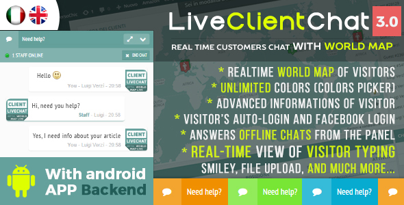 Live Client Chat - Help Desk Chat With Visitors Map & Mobile APP - CodeCanyon Item for Sale