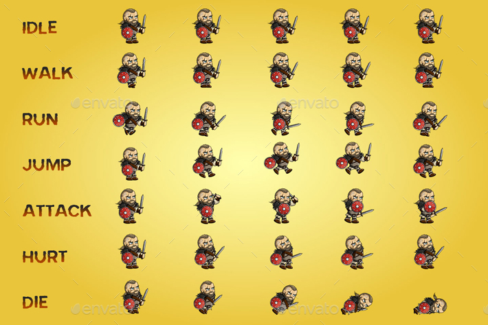 viking 2d game character sprite sheet by craftpix net