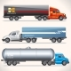 Abstract Trucks with Trailers of Various Types