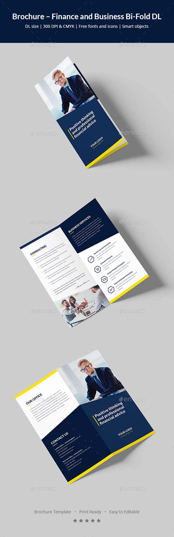 Brochure – Finance and Business Bi-Fold DL - Corporate Brochures
