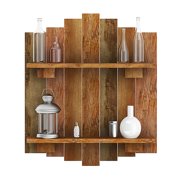 3DOcean Wooden Wall Decoration with Vases 20633362