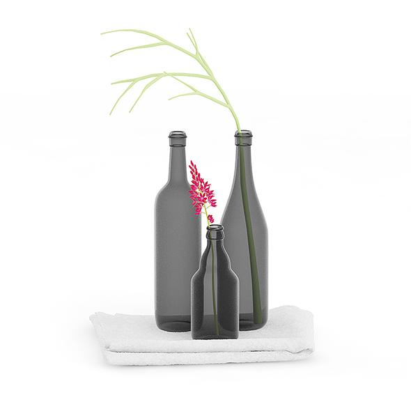 Towels and Black Bottles - 3DOcean Item for Sale