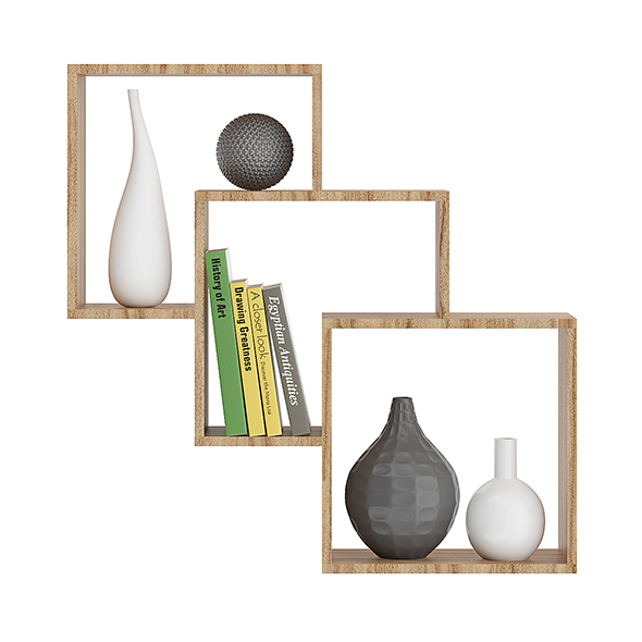 Wooden Wall Shelf with Books and Vases - 3DOcean Item for Sale