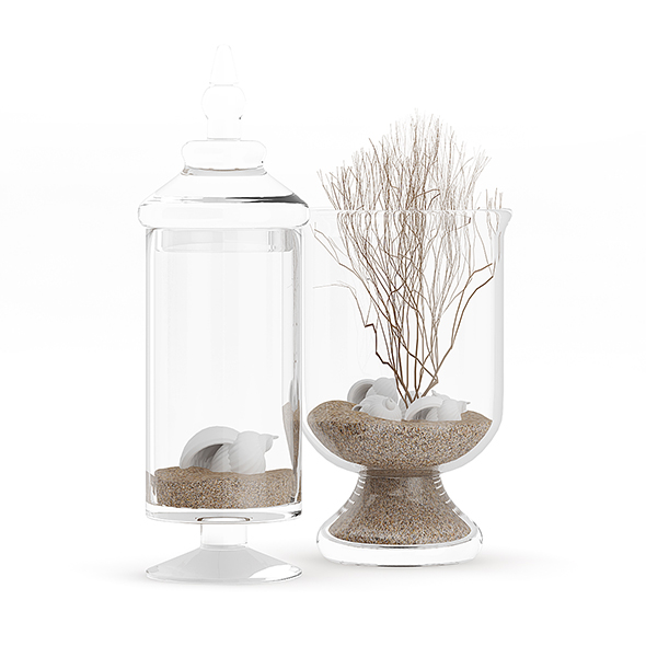 3DOcean Glass Containers with Sand and Shells 20633459