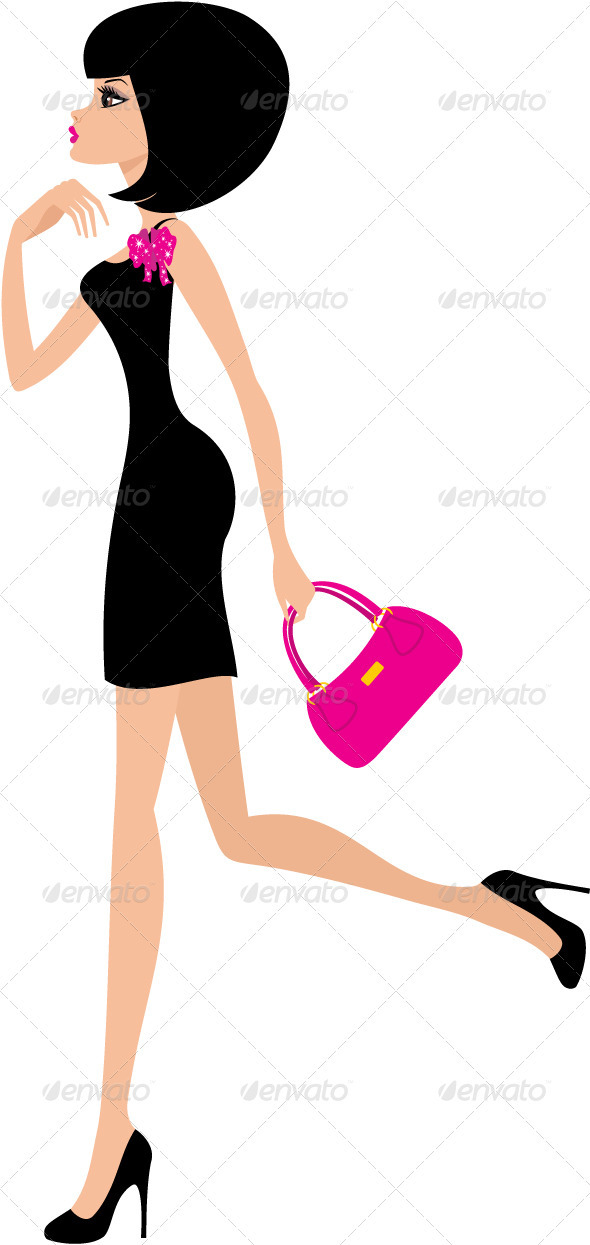 woman in a black dress on a white background. - People Characters