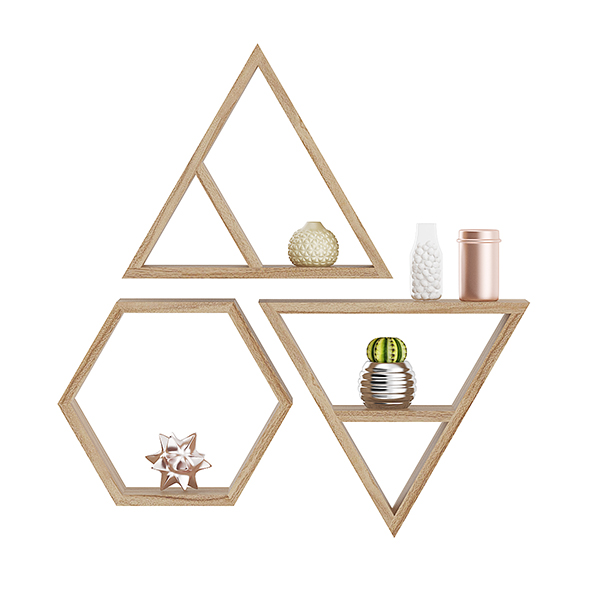 3DOcean Wooden Wall Shelf with Decorations 20633515