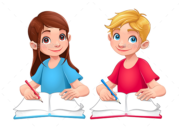 Young Students Boy and Girl with Books and Pencils - People Characters