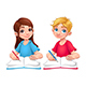 Young Students Boy and Girl with Books and Pencils