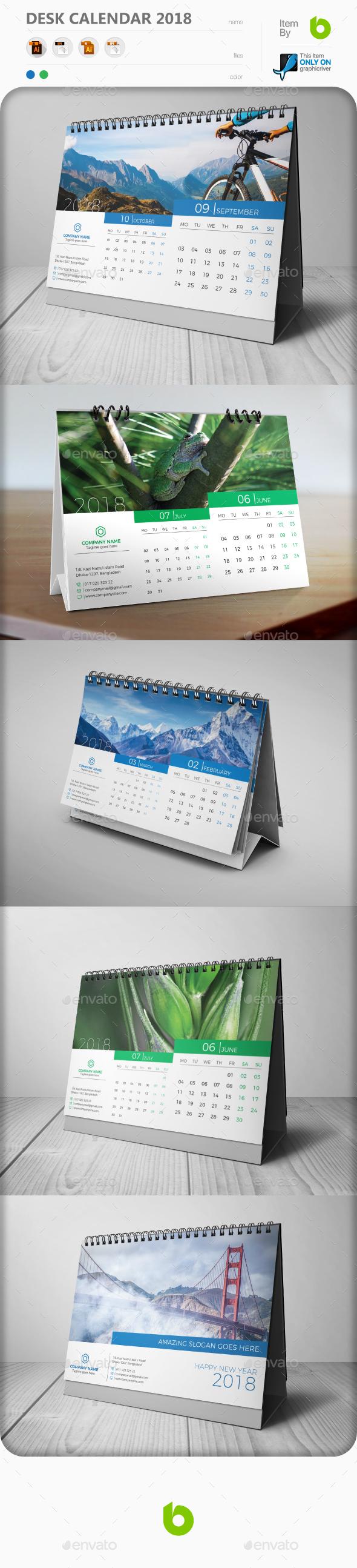 GraphicRiver Desk Calendar 2018 20619607