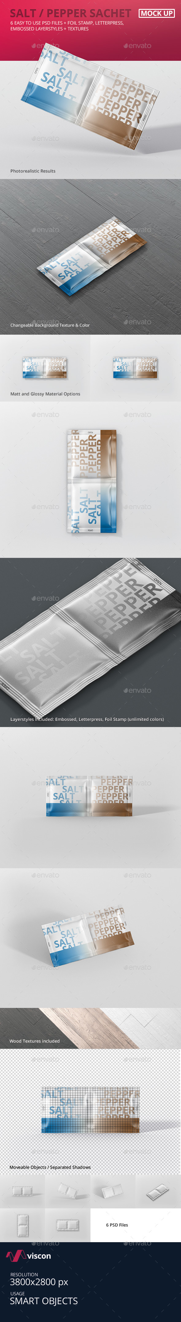 Salt / Pepper Sachet Mockup - Food and Drink Packaging