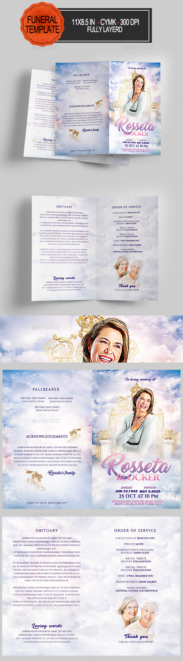 GraphicRiver Funeral Program Template 20634188
