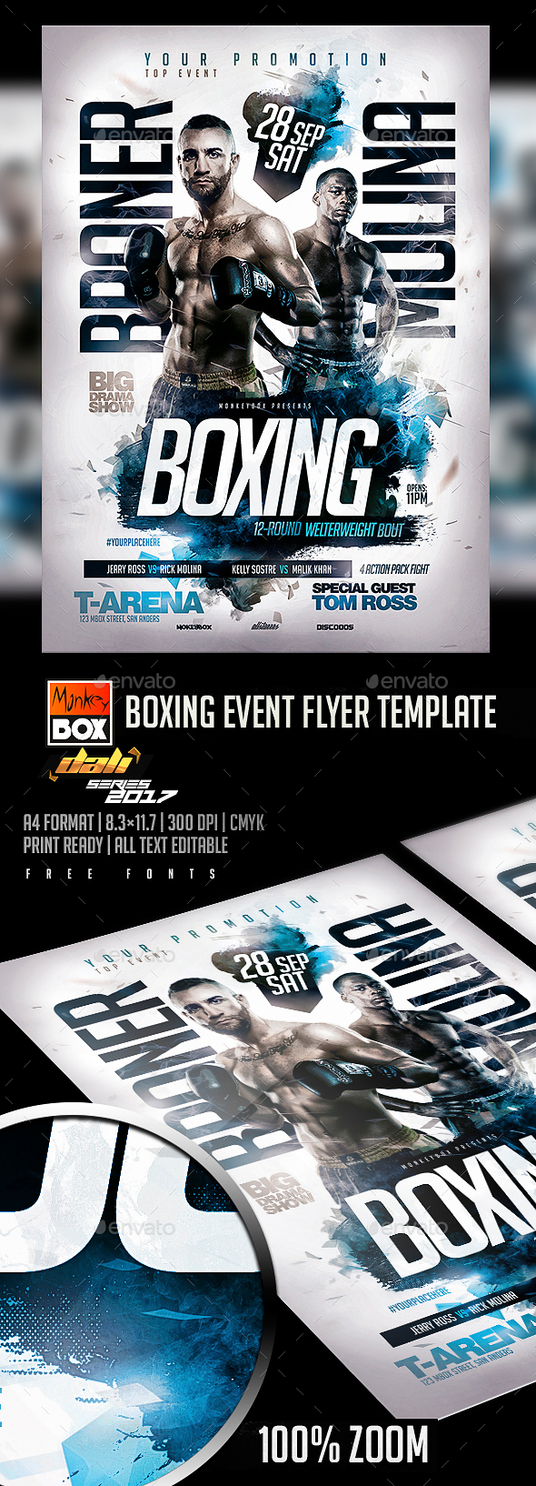 Boxing Event Flyer Template - Flyers Print Templates