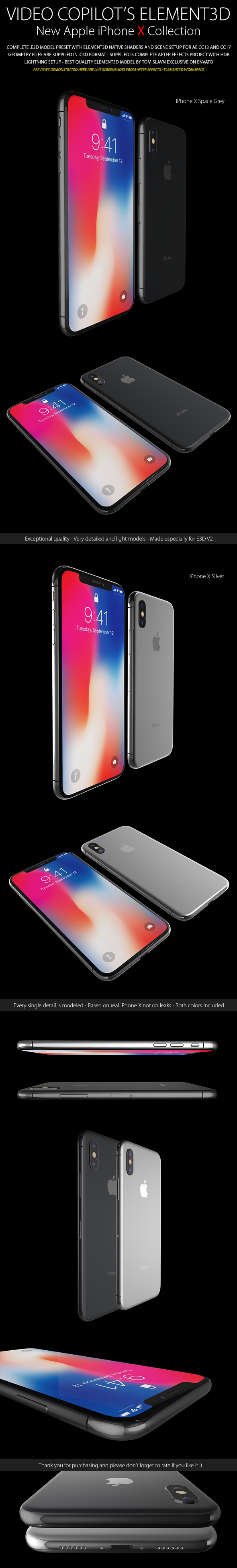 3DOcean Element3D iPhone X Collection 20634379