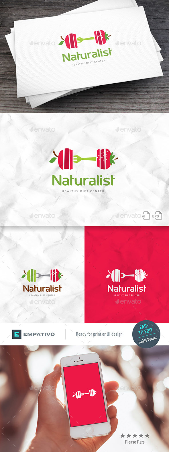 Natural Diet Logo Template - Food Logo Templates