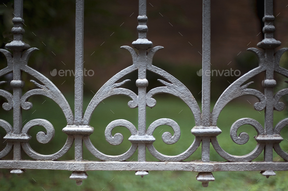 Wrought iron fence - Stock Photo - Images