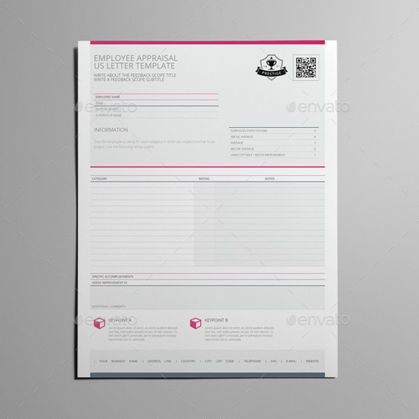 Employee Appraisal US Letter Template by Keboto | GraphicRiver